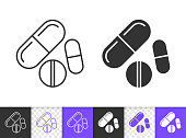 Pill black linear and silhouette icons. Thin line sign of drug. Medicine outline pictogram isolated on white, transparent background. Healthcare Vector Icon shape. Pharmacy simple symbol closeup