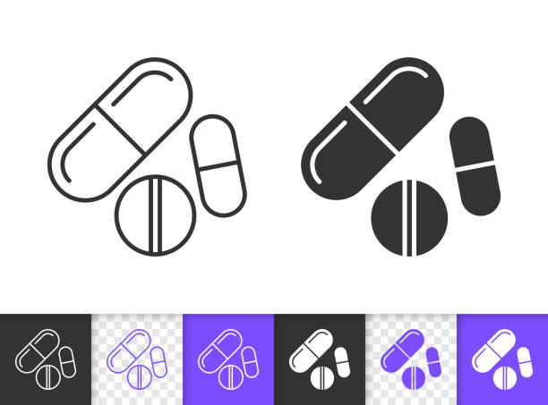 illustrazioni stock, clip art, cartoni animati e icone di tendenza di pill drug medicine pharmacy black line vector icon - antidolorifico