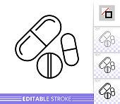 istock Pill drug medicine simple thin line vector icon 1153881350