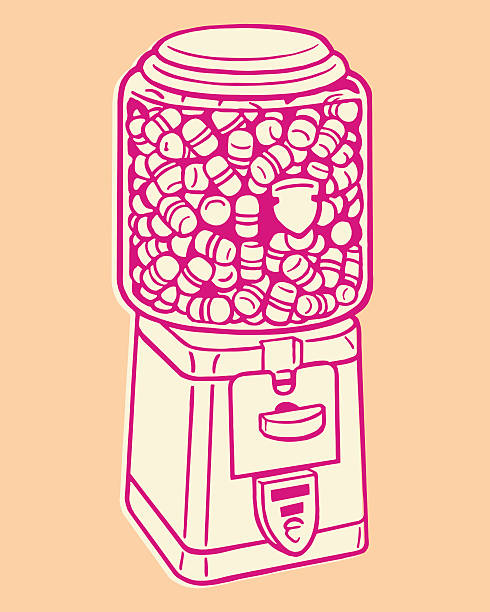 pill gumball machine - empty vending machine stock illustrations
