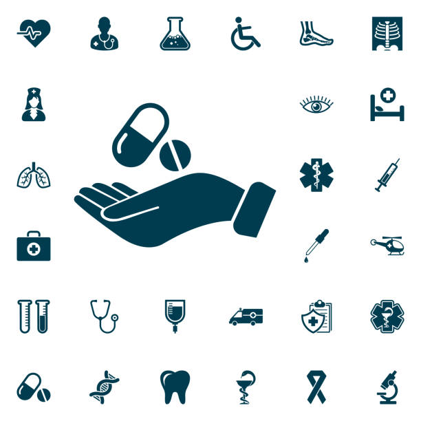 illustrazioni stock, clip art, cartoni animati e icone di tendenza di pill in the hand icon, medical set on white background. health care vector illustration - antibiotico