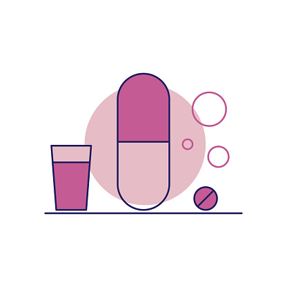 Pill Line Icon. Editable Stroke