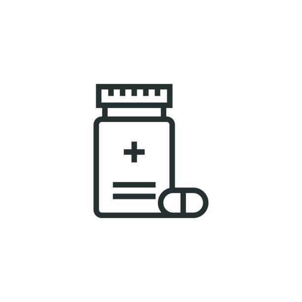 illustrazioni stock, clip art, cartoni animati e icone di tendenza di pill line icon - antibiotico