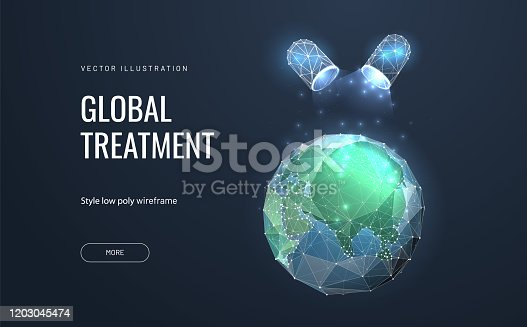 Pill or Medications affect the planet earth. Low poly wireframe style. The concept of saving or healing the world. Polygonal abstract isolated on blue background. Vector