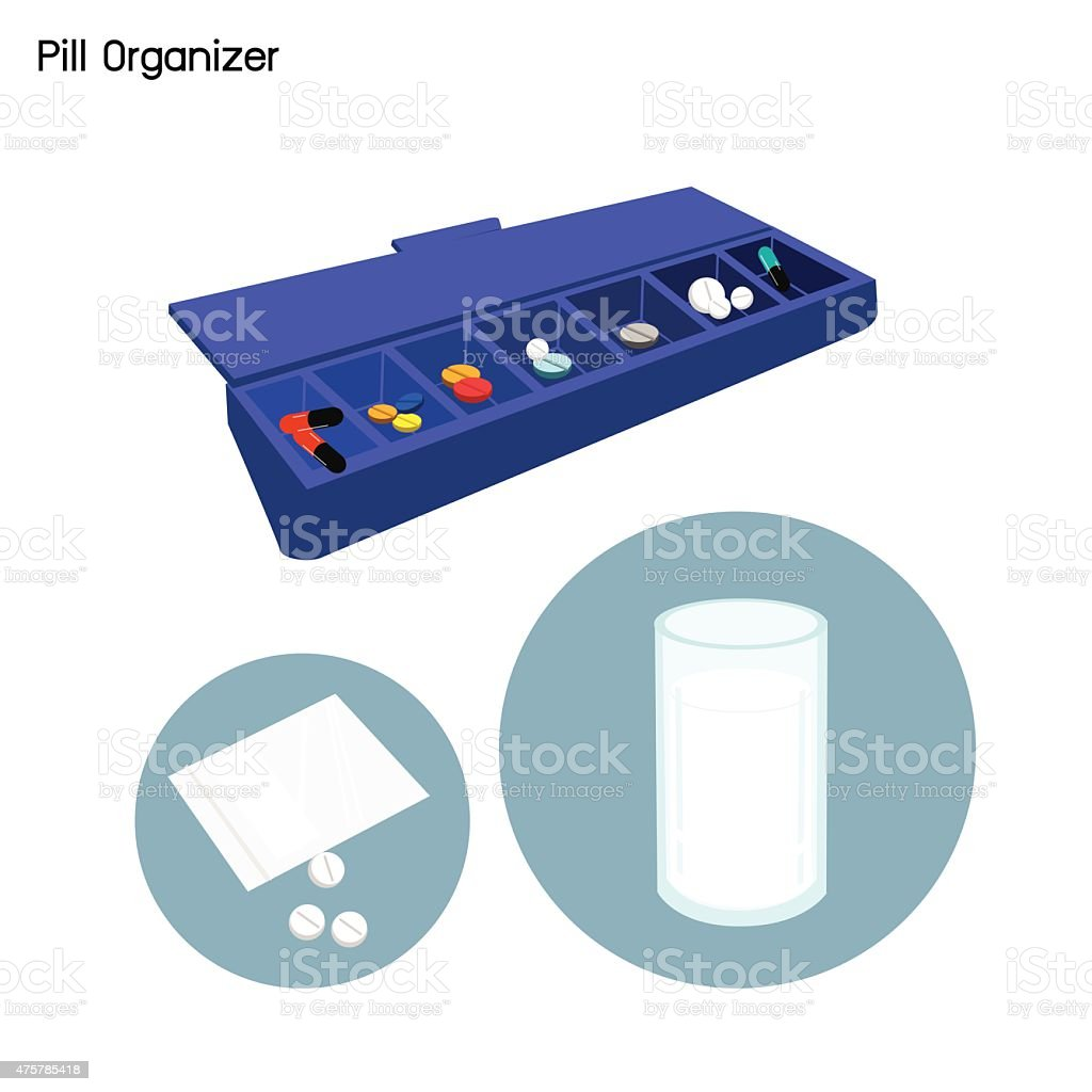 Pill Organizer for Each Day of The Week vector art illustration