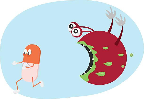 illustrazioni stock, clip art, cartoni animati e icone di tendenza di pillola corsa di batteri. fumetto illustrazione di resistenza agli antibiotici. - antibiotico