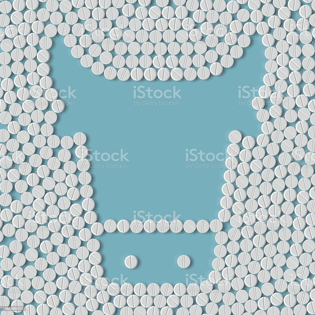 pill, tablet, cow royalty-free stock vector art
