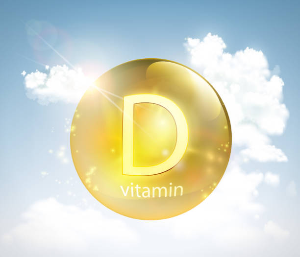 pill vitamin d against the sky with the sun and clouds - vitamin d stock illustrations