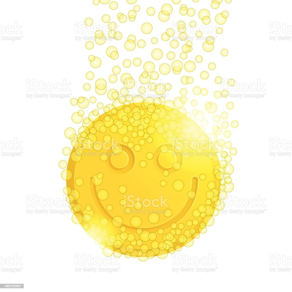 Pill with smiley vector art illustration