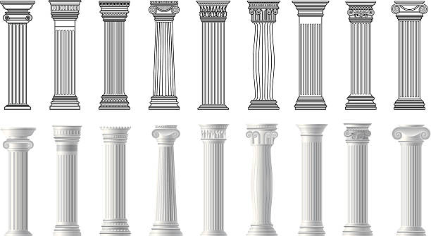 pillars pillars collection. romanesque stock illustrations