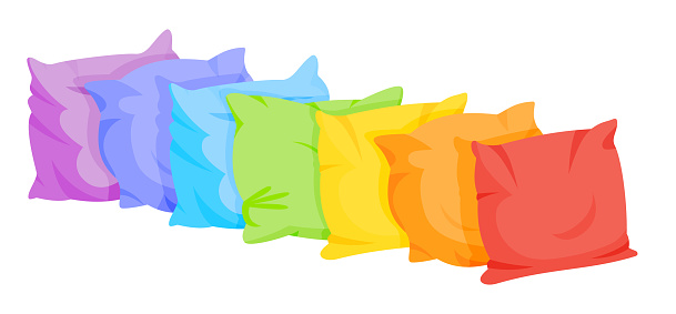 Pillow bed cushion rainbow flat cartoon set vector