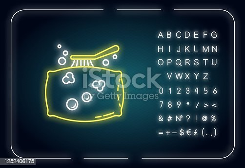 Pillow cleaning neon light icon. Laundry, dust removal. Cushion washing, bedding care. Outer glowing effect. Sign with alphabet, numbers and symbols. Vector isolated RGB color illustration