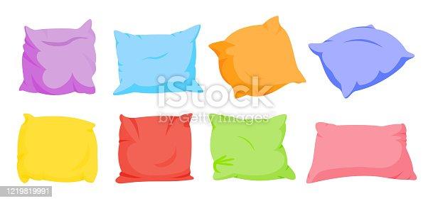 Pillow color cushion rainbow cartoon set vector
