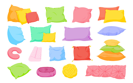 Pillow cushion flat cartoon set bed textile vector
