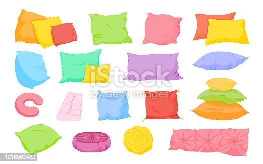 Multi colored pillow flat cartoon set. Home interior textile. Sofa bed sleep pillows mockup template. Feather, bamboo eco fabric. Colorful cushion various shapes design. Isolated vector illustration