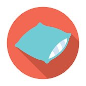 Pillow icon in flat style isolated on white background. Sleep and rest symbol stock vector illustration.