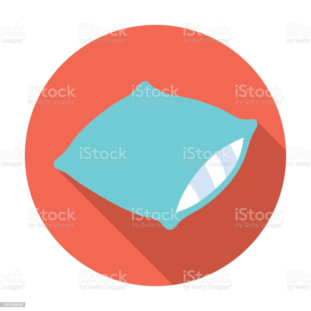 Pillow icon in flat style isolated on white background. Sleep and rest symbol stock vector illustration. vector art illustration