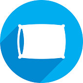 Vector illustration of a blue pillow icon in flat style.