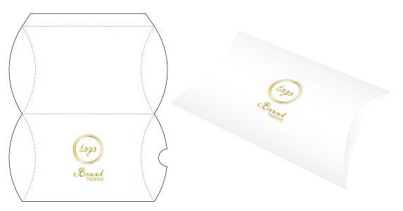 Pillow pack box die-cut template mockup 3d