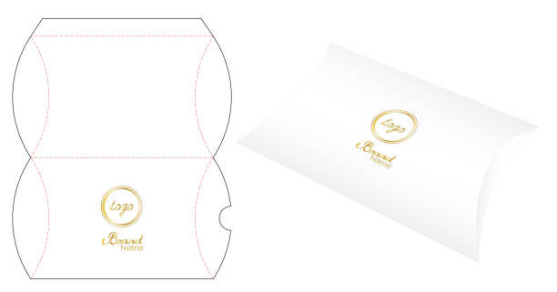 Pillow pack box die-cut template mockup 3d vector art illustration