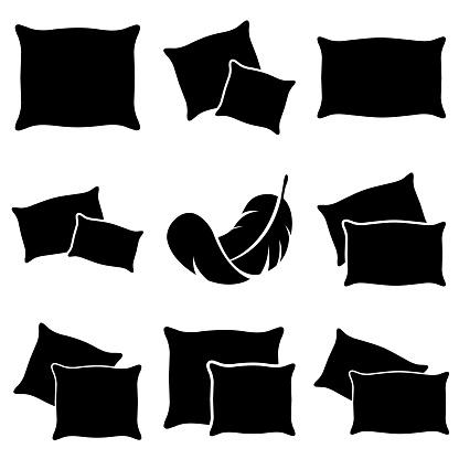 Pillow set icon, logo isolated on white background