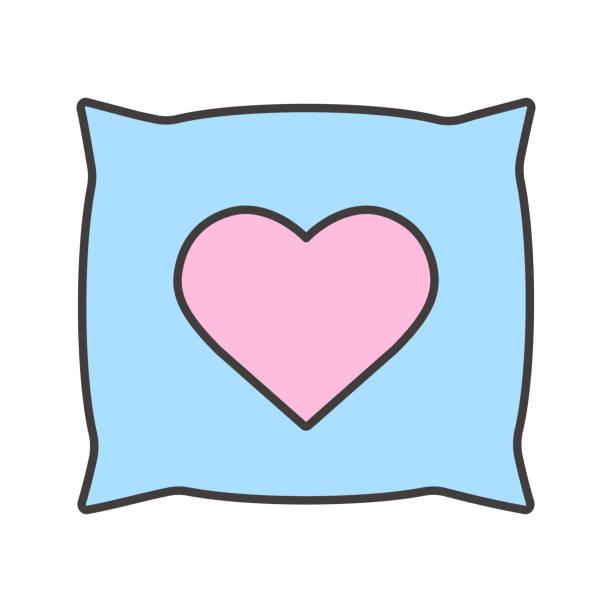 kissen mit herz-form-farbe-symbol - herzkissen stock-grafiken, -clipart, -cartoons und -symbole