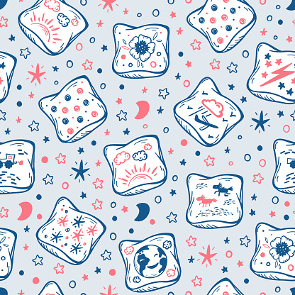 Pillows Background for Kids. Vector Seamless Pattern with Hand Drawn Doodle Sketch Bed Pillow with Cute Prints. Cartoon Cushion Wallpaper. Pajama Party. Baby Shower