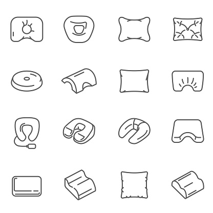 Pillows, cushions different shaped assortment thin line icons set isolated on white.