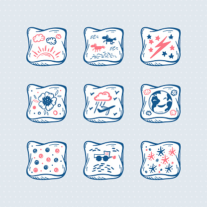 Pillows Vector Set. Hand Drawn Doodle Sketch Bed Pillow with Cute Prints. Cartoon Cushion Icons