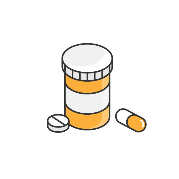 Pills and Bottle, Pharmacy Icon. Health Care Concept Flat Style Vector Design on White Background. Scalable to any size. Vector Illustration EPS 10 File. aspirin stock illustrations