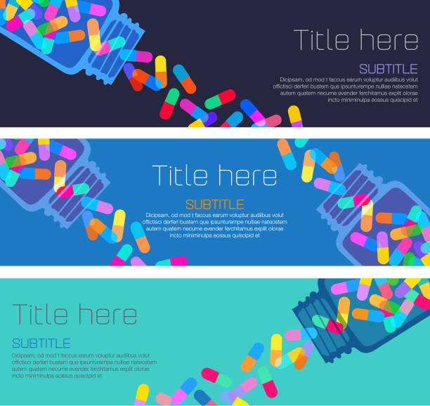 Pills and Capsules Banners Colourful overlapping silhouettes of pills and capsules in Banner template. addict stock illustrations