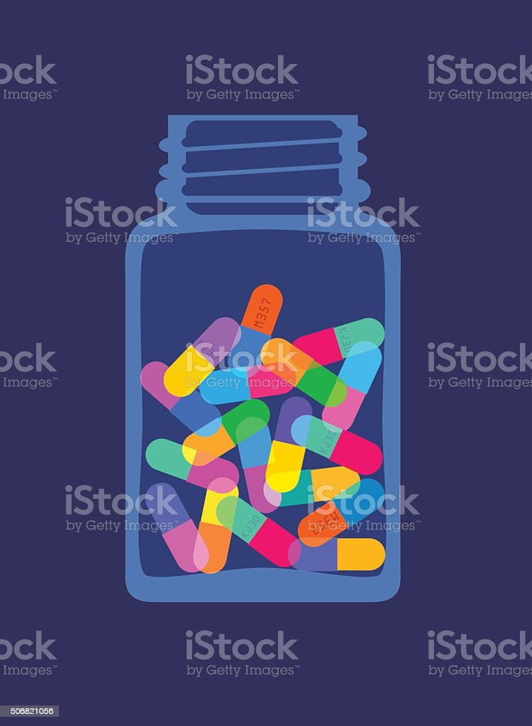 Pills and Capsules in Bottle vector art illustration