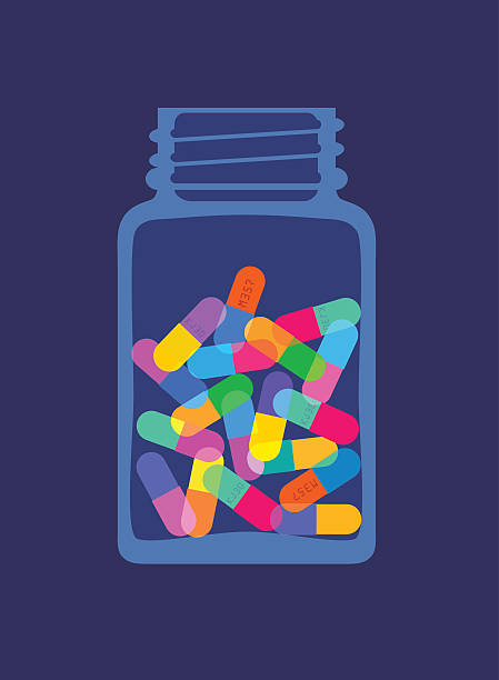 illustrazioni stock, clip art, cartoni animati e icone di tendenza di pillole e capsule in bottiglia - antibiotico