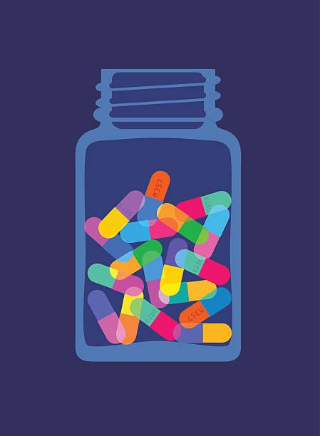 tabletten, kapseln in der flasche - kräutermischung stock-grafiken, -clipart, -cartoons und -symbole