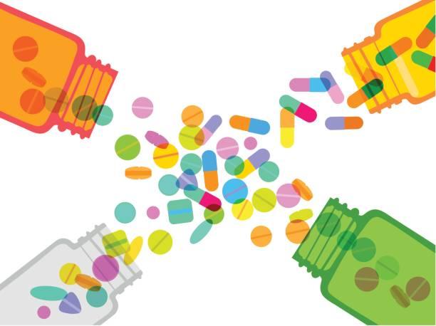 pillen und kapseln gläser - kräutermischung stock-grafiken, -clipart, -cartoons und -symbole