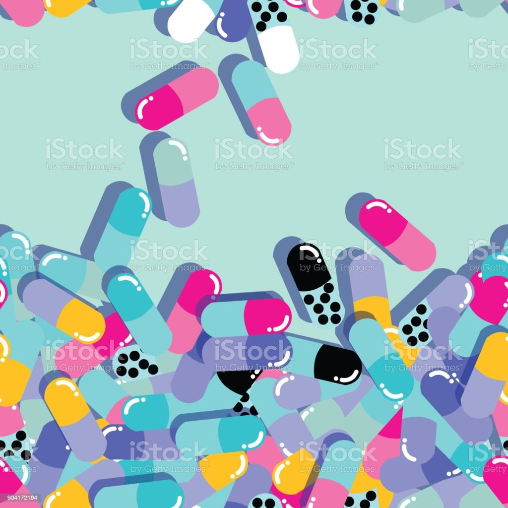 9939e44a250 Pills And Capsules Seamless Pattern Pop Modern Design Bold Colors ...