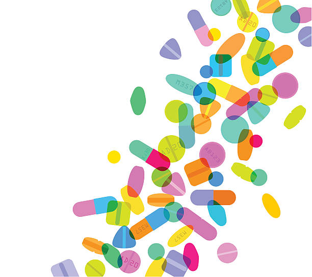 Pills and Capsules Colourful overlapping silhouettes of pills and capsules. EPS10 file, best in RGB, CS5 versions in zip aspirin stock illustrations