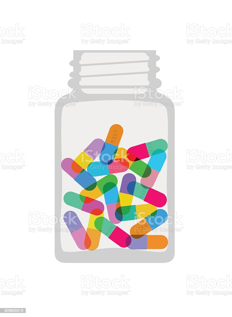Pills and Capsules vector art illustration