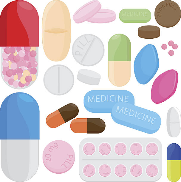 stockillustraties, clipart, cartoons en iconen met pills and capsules - doordrukstrip