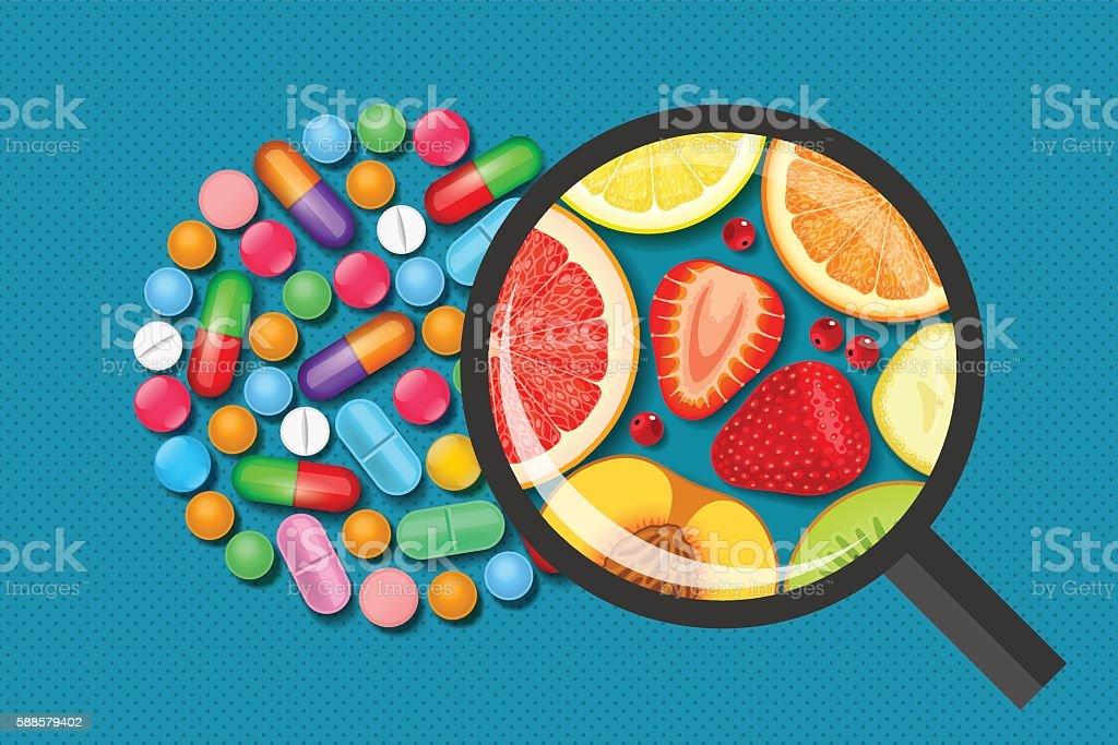 Pills and fruits. Vitamins medical and natural vector art illustration