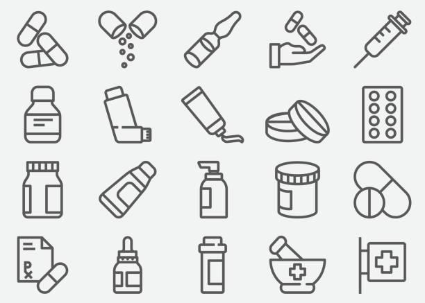 pigułki i aptecznych ikony linii - kapsułka stock illustrations