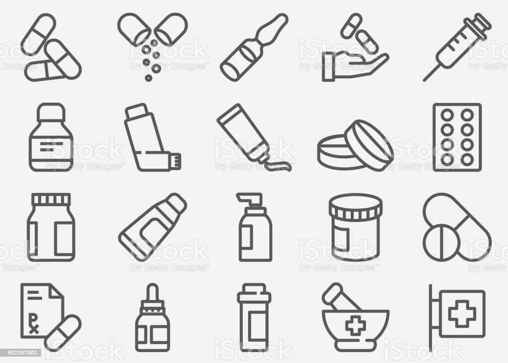 Pills and Pharmacy Line Icons vector art illustration