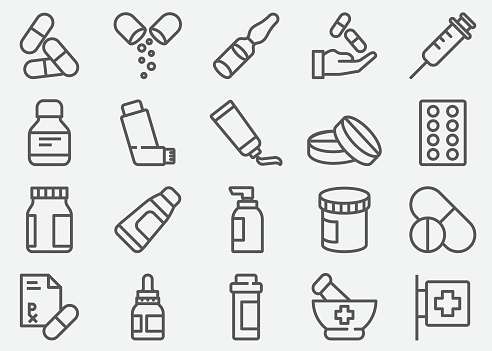 Pills And Pharmacy Line Icons - Immagini vettoriali stock e altre immagini di Accudire