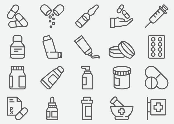 illustrazioni stock, clip art, cartoni animati e icone di tendenza di pills and pharmacy line icons - prescrizione medica