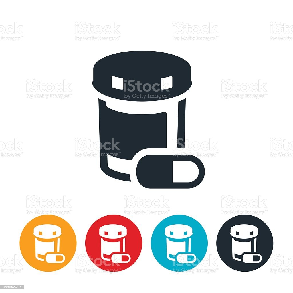 Pills and Pill Bottle Icon vector art illustration
