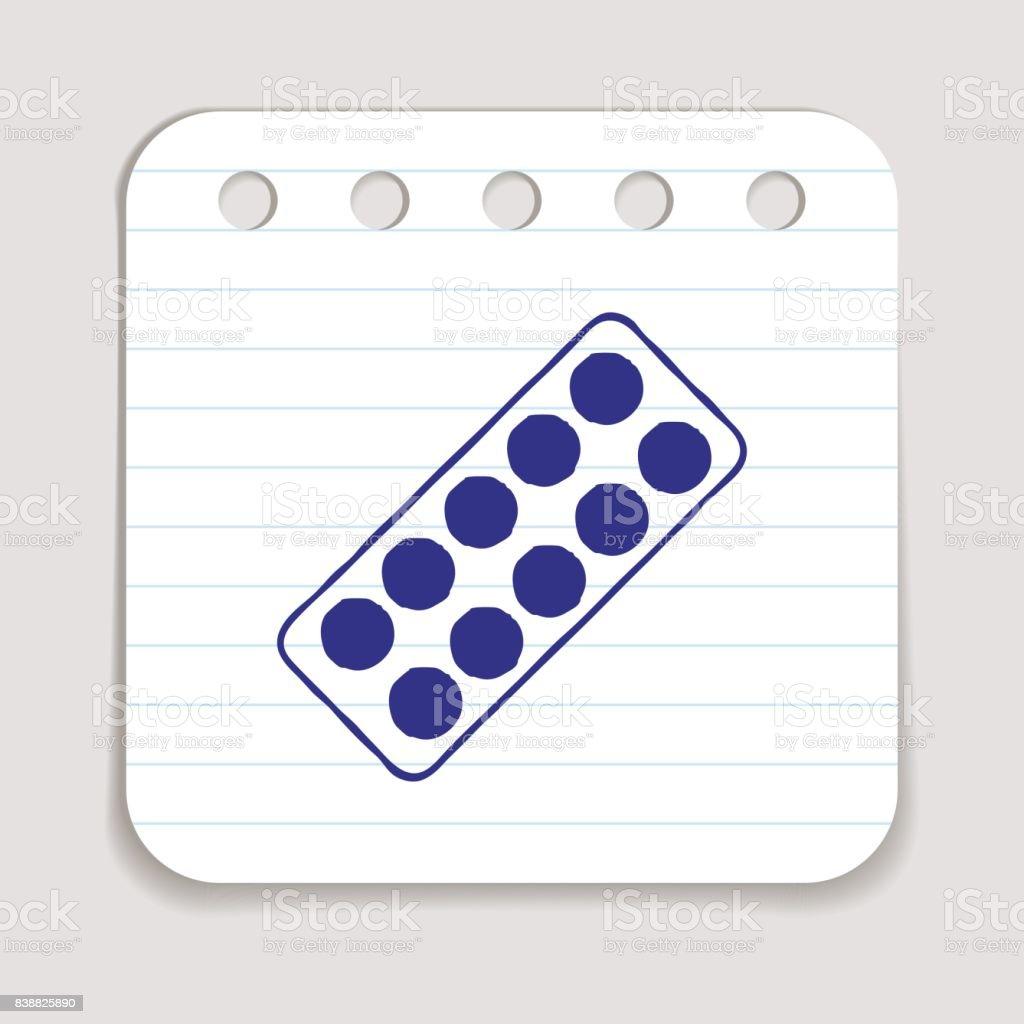 Pills blister doodle icon vector art illustration
