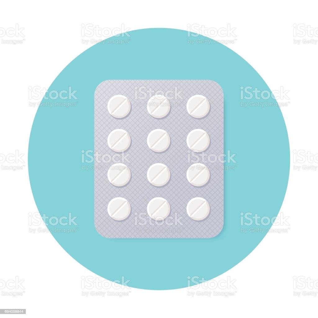Pills Blister Pack with White Round Pills. vector art illustration