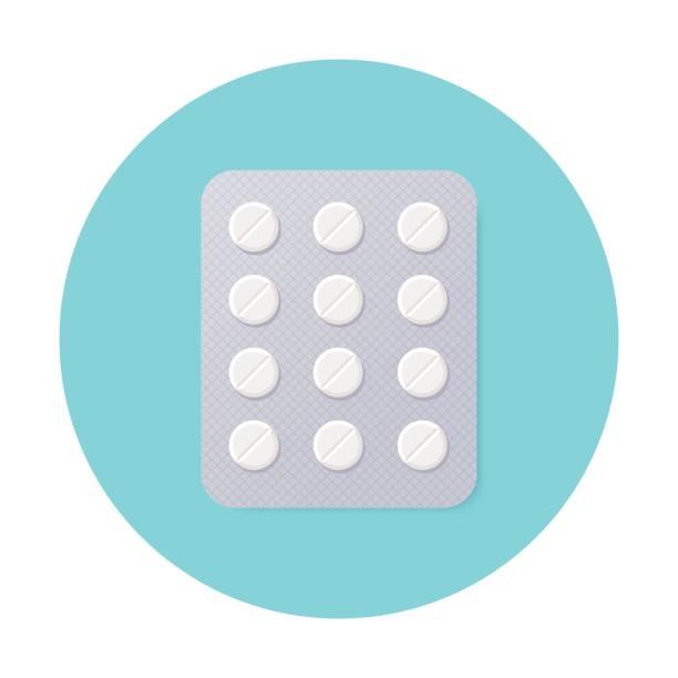 stockillustraties, clipart, cartoons en iconen met pillen blisterverpakking met witte ronde pillen. - doordrukstrip