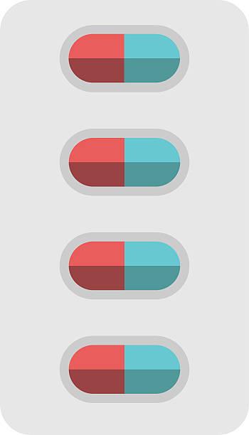 stockillustraties, clipart, cartoons en iconen met pills blister package isolated - doordrukstrip