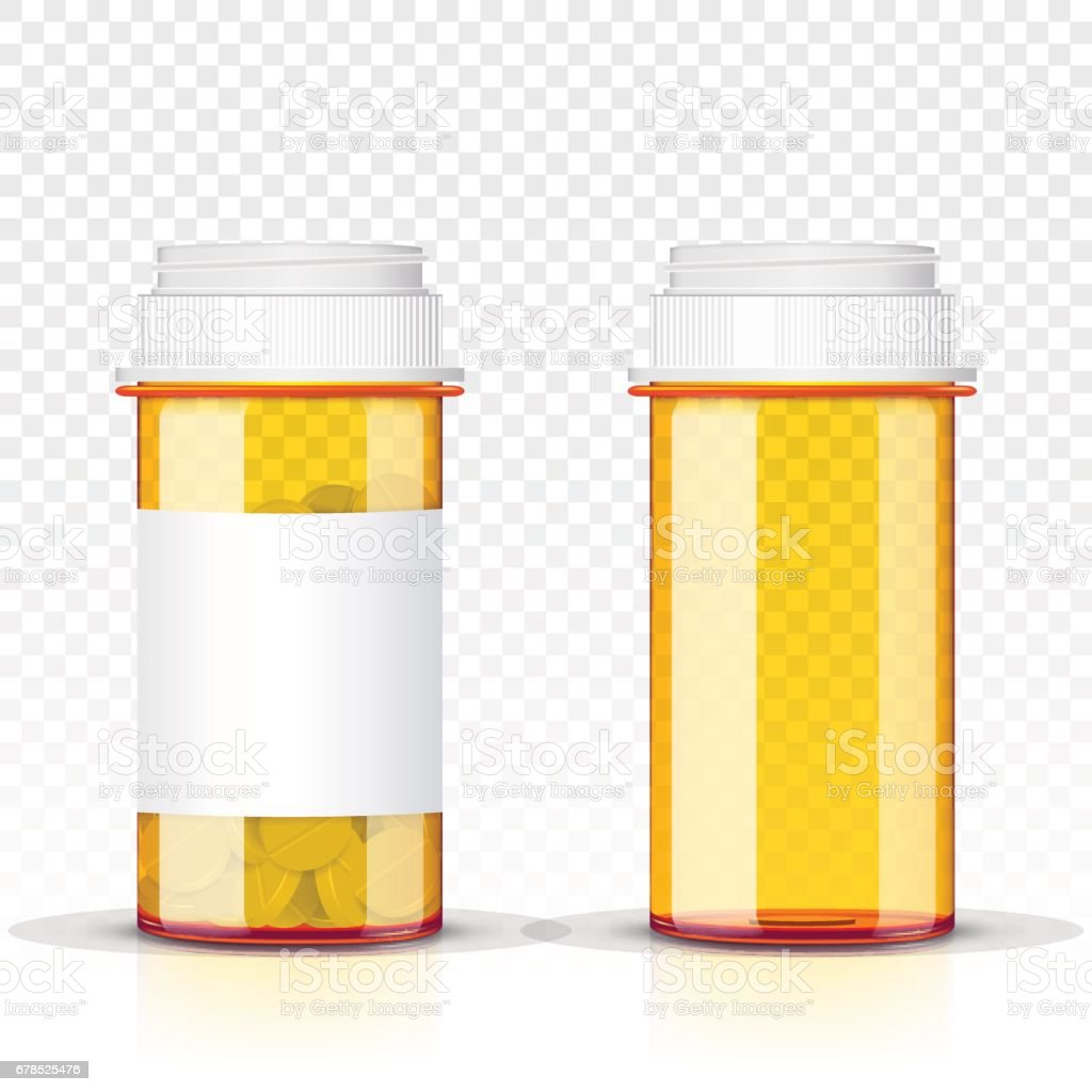 Pills bottle isolated on transparent background vector art illustration